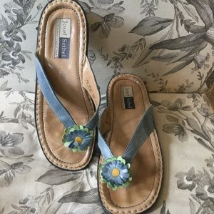 JOSEF SEIBEL | Leather Slide Sandals w/flower